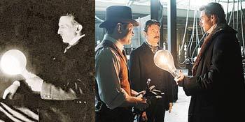 Никола Тесла - в жизни (на фото слева) и в фильме «Престиж» (на групповом фото - в центре). На обоих снимках запечатлен один из самых забавных трюков ученого - к лампе не подведены провода, а она светится. На вопрос, откуда берется ток, ученый отвечал: «Из Земли».