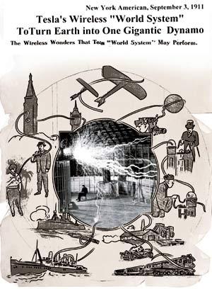 Это - страница журнала «Нью-Йорк Американ», 1911(!) год, посвященная самому фантастическому проекту ученого - «Всемирная беспроводная система передачи информации и энергии». Если бы он довел проект до конца, мир бы сейчас был совсем другим. В центре схемы - реальная энергопередающая установка Теслы. Над спокойно сидящим изобретателем сверкают молнии мощностью в миллионы ватт.