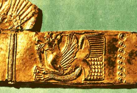 Фантастический зверь-птица. Золотая обкладка ножен из скифского кургана Придонья. VI в. до н.э.