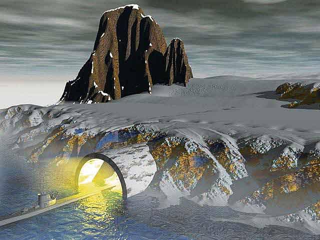 """Согласно теории """"полой земли"""" под поверхностью планеты имеются огромные пустоты. Попасть туда можно, якобы совершив определенные маневры на подводной лодке. Именно вход в это загадочное подземелье и искали нацисты в Антарктиде."""