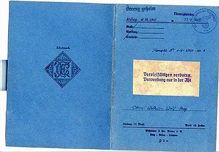 Секретная тетрадь, принадлежавшая полковнику Вермахта Вильгельму Вольфу, с конспектами приказов об отборе кандидатов для отправки в Антарктиду